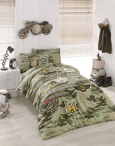 Bekata Peace, 100% Cotton Special Air Force Army Bedding Set for Boys and Girls, Single/Twin Size Quilt/Duvet Cover Set with Fitted Sheet, Green, COMFORTER INCLUDED (4 PCS)