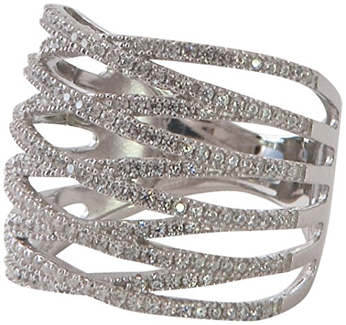 Row Cross Criss - 5 ROW CRISS CROSS STERLING SILVER (.925) RING, WITH PAVE CRYSTALS (CZ'S) ACCENTS-GORGEOUS!! (9)