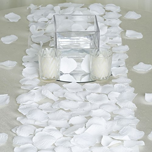 BalsaCircle 4000 White Silk Artificial Rose Petals Wedding Ceremony Flower Scatter Tables Decorations Bulk Supplies Wholesale