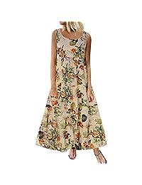 Cimaybo Playa de Las Mujeres Vestido de Tirantes, Summer Flowy Plus Size Bohemian O-Cuello Estampado Floral Vintage Tanque sin Mangas Largo Vestido Largo