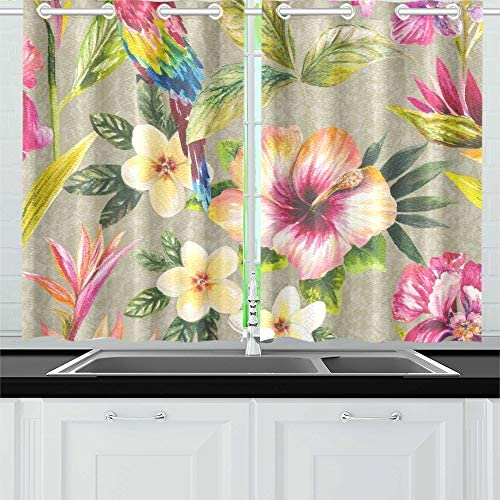 AIKENING Tropical Parrot Floral Birds Metallic Effect Wallp Kitchen Curtains Window Curtain Tiers for Caf , Bath, Laundry, Living Room Bedroom 26 X 39 Inch 2 Pieces