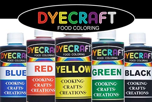 Food Coloring Multi-Pack (Green, Yellow, Blue, Red, Black) LARGE 4oz ...