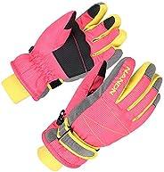 XTACER Kids Ski Snow Gloves Snowboard Winter Warm Cold Weather Gloves for Boys Girls Children (Pink, Medium (F
