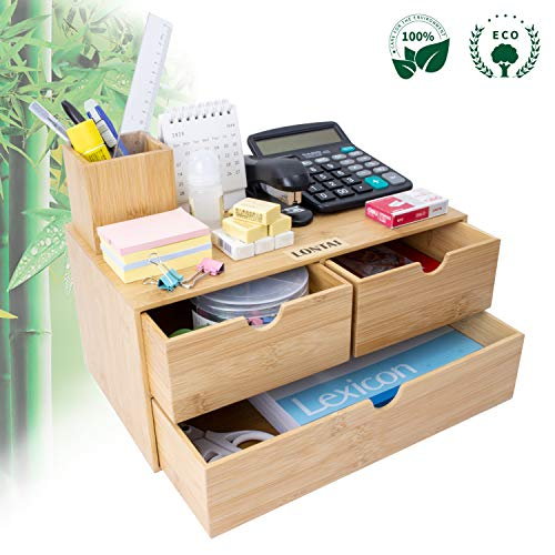 Bamboo Desk Organizer – Mini Bamboo Desk Drawer Tabletop Cosmetic Storage Organization for Office or Home (3 Drawer)