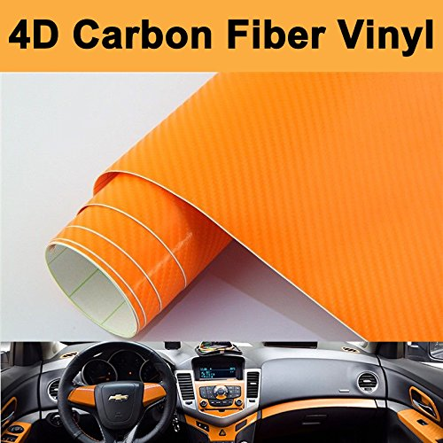 DIYAH 4D Orange Carbon Fiber Vinyl Wrap Sticker with Air Realease Bubble Free Anti-Wrinkle 12