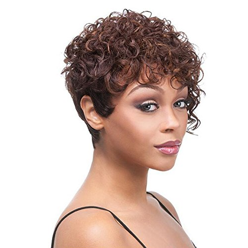 Aoert Synthetic Short Little Curly Wigs for Black Women Heat Resistant Brown Wig 6 Afro Kinky Curly