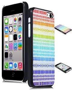 Bastex Snap On Case for iPhone 5C, 5th Generation - Blue Rainbow Chevron Tribal Aztec Hard Shell