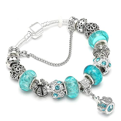 Kisses Magnetic Bracelet Jewelry - Silver Plated Blue Crystal Beads Charm Bracelet for Women DIY Glass Bracelet Wedding Jewelry Gifts
