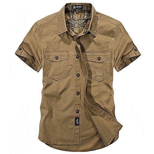 Military Shirts Khaki (Insun Men's Cotton Solid Short Sleeve Military Button Down Shirts 2XL Khaki)