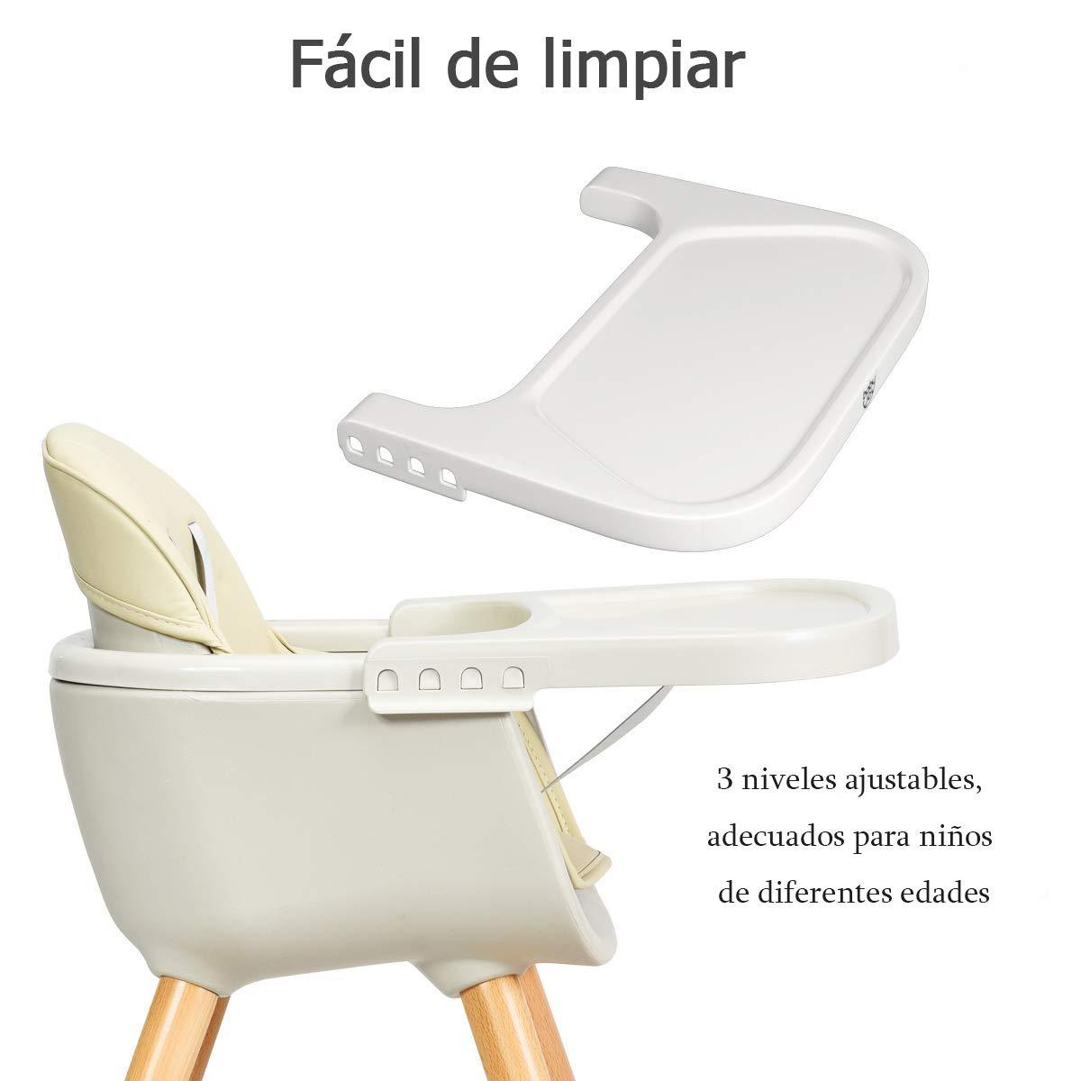 COSTWAY Trona de Bebé de Madera Silla Alta para Comedor con ...