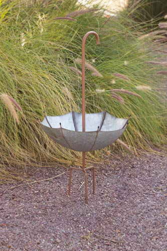 Alpine Corporation Rustic Metal Inverted Umbrella Flower Planter with Stand - Outdoor Yard Decor - 20