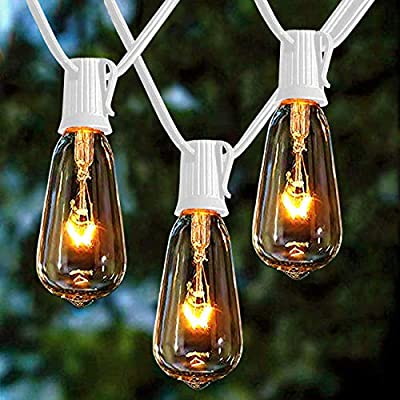 Afirst Outdoor String Lights 20Ft with 20 Edison Bulbs Vintage Bistro String Lights Waterproof UL Listed Patio String Lights for Indoor Backyard Party Wedding-White Cord : Garden & Outdoor