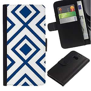 HTC One M8 Modelo colorido cuero carpeta tirón caso cubierta piel Holster Funda protección - White Pattern Vintage Wallpaper