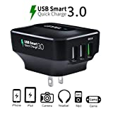 QC3.0 Wall Charger UPPEL 25W Three USB Travel Wall Charger with Qualcomm QC 3.0 (4X Faster) and SmartID Technology for Smartphone, Pad, Bluetooth Speaker Headset, Power Bank and More