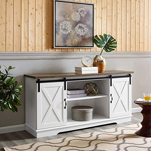 Home Accent Furnishings New 58 Inch Sliding Barn Door TV Console Solid White with Rustic Oak Colored Top