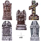 "JOYIN 17"" Halloween Foam RIP Graveyard Tombstones (5 Pack), Headstone Decorations and 12 Bonus Metal Stakes for Halloween Yard Decorations"