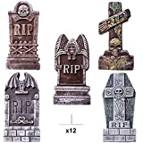 "Toys : JOYIN 17"" Halloween Foam RIP Graveyard Tombstones (5 Pack), Headstone Decorations and 12 Bonus Metal Stakes for Halloween Yard Decorations"