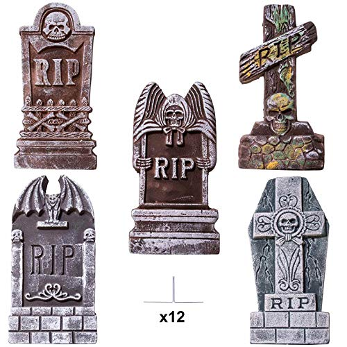 "JOYIN 17"" Halloween Foam RIP Graveyard Tombstones (5 Pack), Headstone Decorations and 12 Bonus Metal Stakes for Halloween Yard Decorations -"