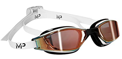 3273b1bfa5 Michael Phelps Xceed Titanium Mirror Swimming Goggles - White Black - Titanium  Gold Mirror