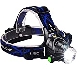 Juzihao Zoomable 3 Modes Cree T6 Super Bright LED Headlamp,Adjustable Waterproof Flashlight Torch with Rechargeable 18650 Batteries, Car Charger, Wall Charger and USB Cable for Outdoor Sports