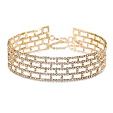 LILIE&WHITE New Fashion Luxury Rhinestone Rectangle Choker Necklace Vintage Collar Trendy Jewelry For Women Gold