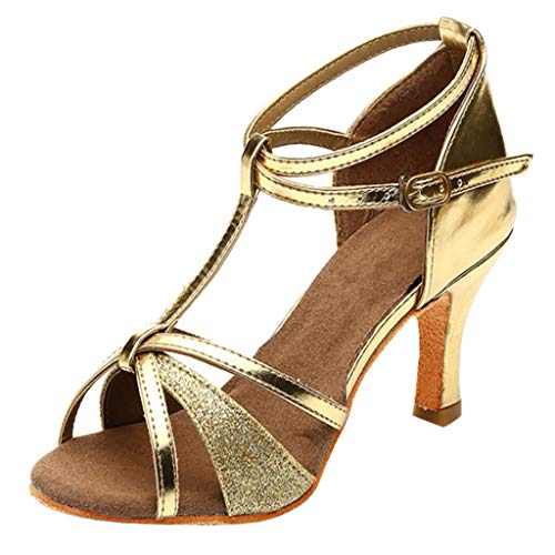 Henwerd dance-shoes for Women Latin Salsa Bachata Suede Sole Performance Dance Shoes (Gold,7.5 US)