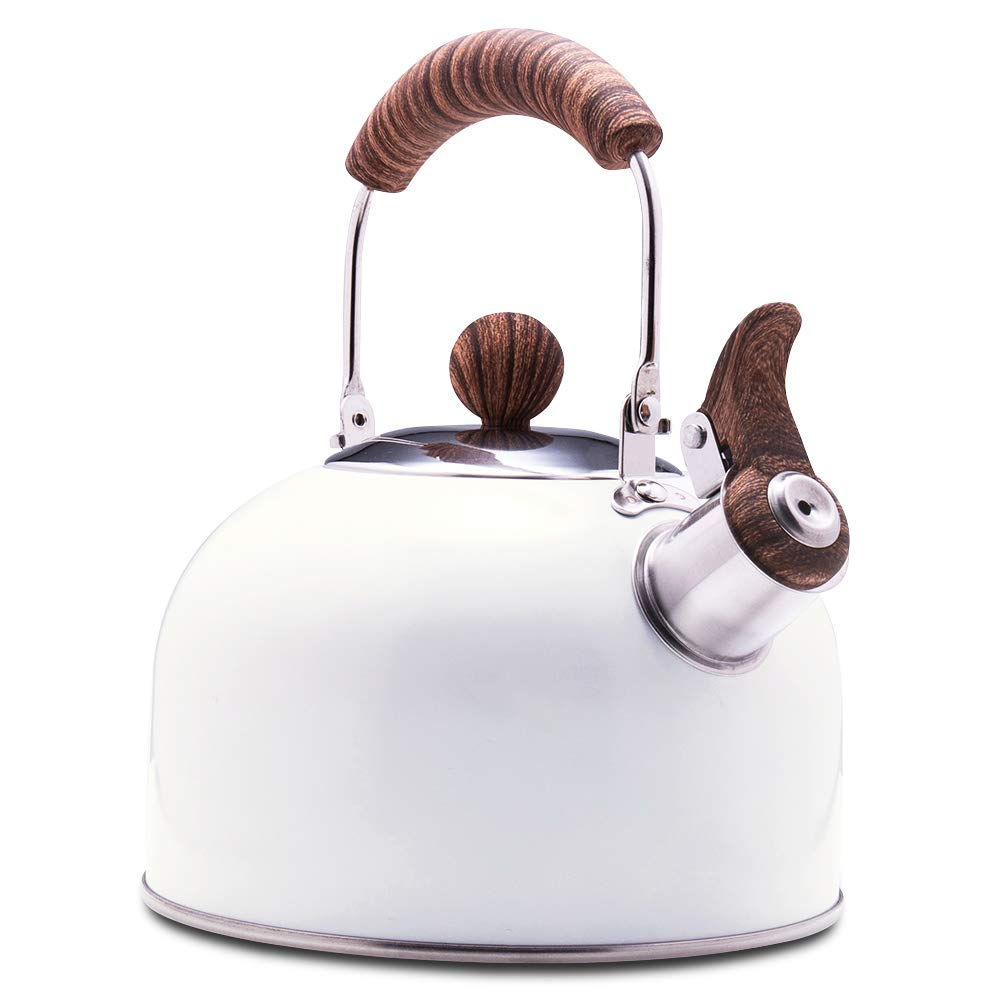 ROCKURWOK Tea Kettle, Stovetop Whistling Teapot, Stainless Steel, Pearl White, 2.43-Quart