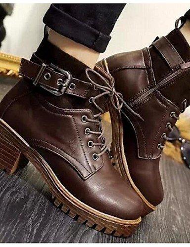 Synthétique Femme Marron Cn37 5 Talon us6 Uk4 5 7 Fermé Décontracté 5 Chaussures Extérieure Brown Noir Xzz Eu37 Bout Gros Bottes 5SwqP1Rnx