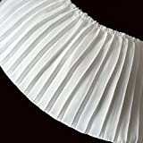 Chiffon Fabric Pleated Lace Trims Accordion Pleats Lace Trims 3 Yards 6-3/4 '' Wide for Garment Extender Sewing Supply (White)