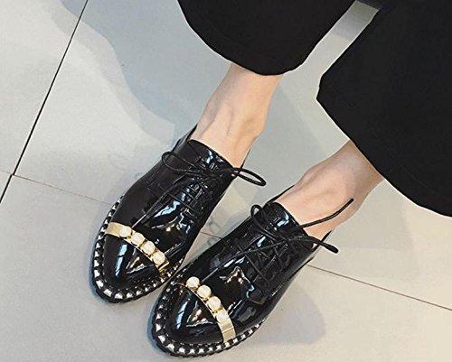 2017 nueva primavera zapatos bajas de un solo viento británico salvaje femenina para ayudar a los zapatos de perlas pequeños zapatos Black