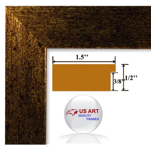 Copper Custom Picture Frame (9x12 Brushed Copper Brass finish Picture Poster frame 1.5 inch Wide MDF)