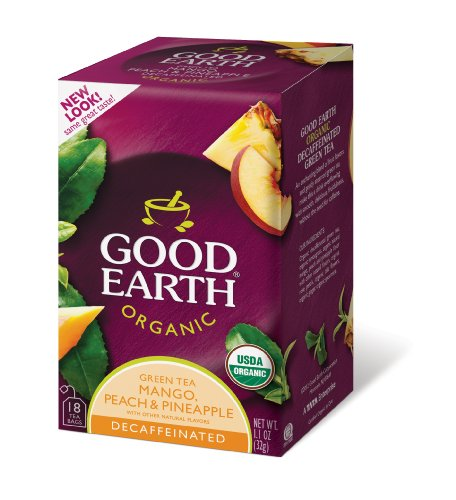 Good Earth Organic Green Tea, Mango, Peach, and Pineapple, Decaffeinated, 18-Count Tea Bags (Pack of 6)