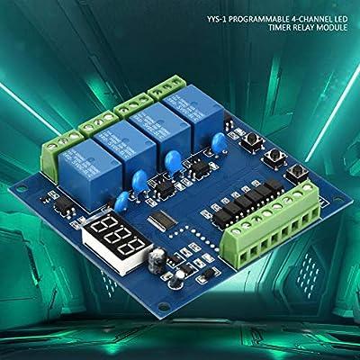 5VDC YYS-1 Timer-Relais Verz/ögerungsrelais Programmierbares 4-Kanal-LED-Relaismodul Signal-Trigger
