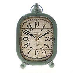 Vintage Rustic Antique Distressed Looking Table/ Desk Clock -Hangable Green Oval Table Clock