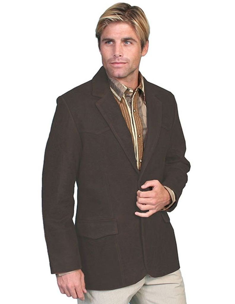 Scully Men's Oakridge Western Leather Blazer Antique Brown 42 T