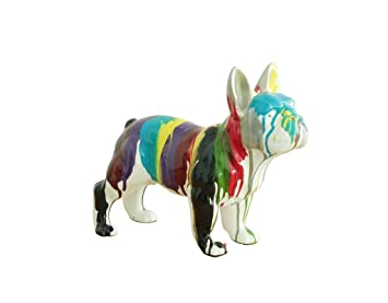 Bulldog français statue art moderne multicolore - design déco ...