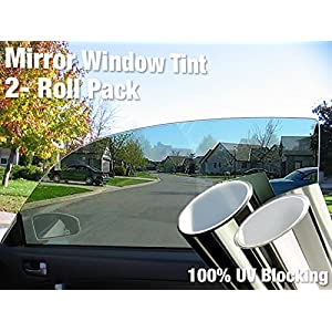 "Complete Mirror Car Window Wrap Tint Glass Vinyl Film 30"" x 60"" 2-roll combo pack"