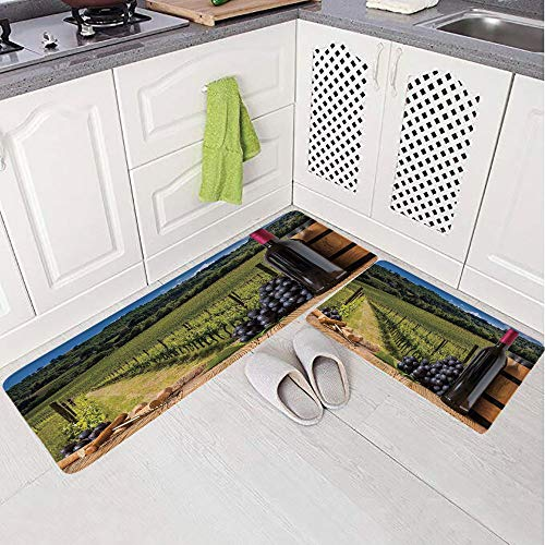2 Piece Non-Slip Kitchen Mat Rug Set Doormat 3D Print,with Grapes on Timber Board and Tuscany Italian,Bedroom Living Room Coffee Table Household Skin Care Carpet Window Mat, ()
