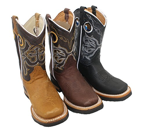 Kid'stoddler cowboy boots leather square toe rodeo unisex western boots_Black_10