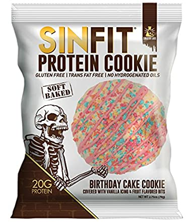 SINFIT Birthday Cake Protein Cookies by Sinister Labs - Soft baked cookie drizzled with vanilla icing, packed with 20g of protein and only 7g of sugar ...