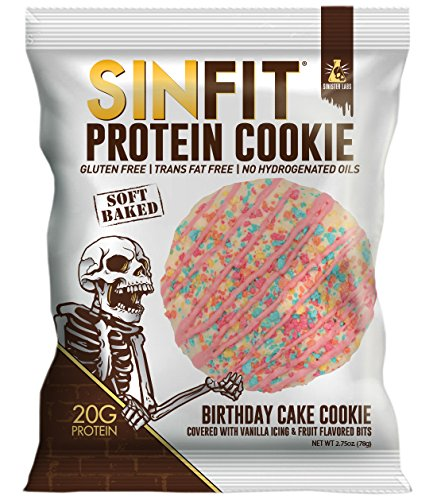 SINFIT Birthday Cake Protein Cookies by Sinister Labs - Soft baked cookie drizzled with vanilla icing, packed with 20g of protein and only 7g of sugar - glute free - 2.75 oz cookies (10-count) ()
