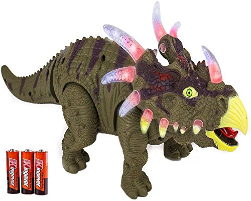 Toysery Walking Triceratops Dinosaur Toy With Amazing Sounds  Dinosaur Noises Lights   Movement For Kids  Colors May Vary
