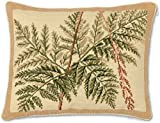 Handmade 100% Wool Needlepoint Fern Leaves Throw Pillow. 16'' x 20''.