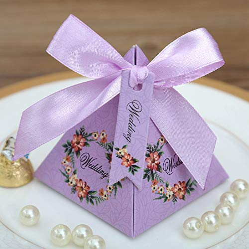Gold Happy 50 pcs Pink/Purple/ Tiffany Blue Floral Pyramid Wedding Favor Candy Boxes Bridal Shower Party Paper Gift Box