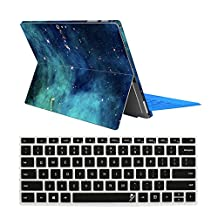 "ProElife 2 in 1 Ultra Slim Silicone Keyboard Cover & Premium Decal Skin for Microsoft Surface pro4 Surface Pro 4 12.3"" (Deep Nebula+Keyboard cover)"