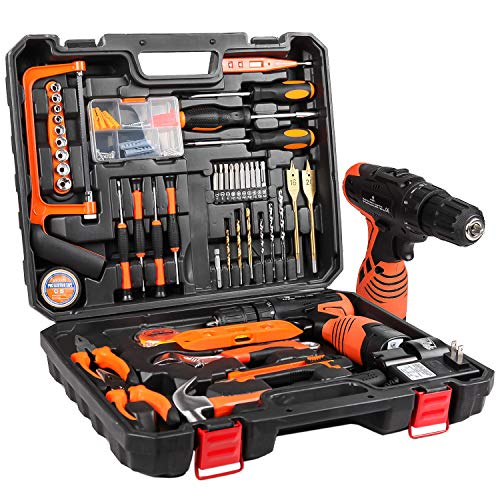 Power Tools Combo Kit, LETTON Tool Set with 60pcs Accessories Toolbox and 16.8V Cordless Drill Set for Home Cordless…