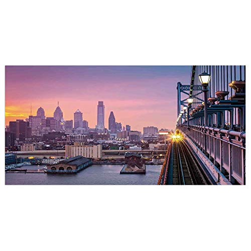 (47.2x23.6 Floor/Wall Sticker Removable,American,Philadelphia Under a Hazy Sunset Train on Vibrant Bridge Skyscrapers Landscape,Purple Blue,for Living Room Bathroom Decoration)