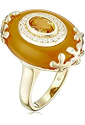 18k Yellow Gold Over Sterling Silver Yellow Agate, Citrine and Cubic Zirconia Ring