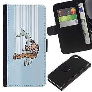 KLONGSHOP // Tirón de la caja Cartera de cuero con ranuras para tarjetas - Mandíbula combate Tiburón - Apple Iphone 6 //