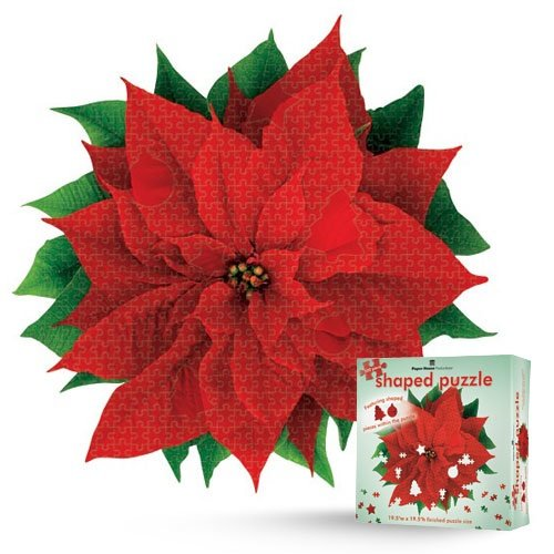 Shaped Puzzle 19.5 by 19.5-Inch, Red Poinsettia